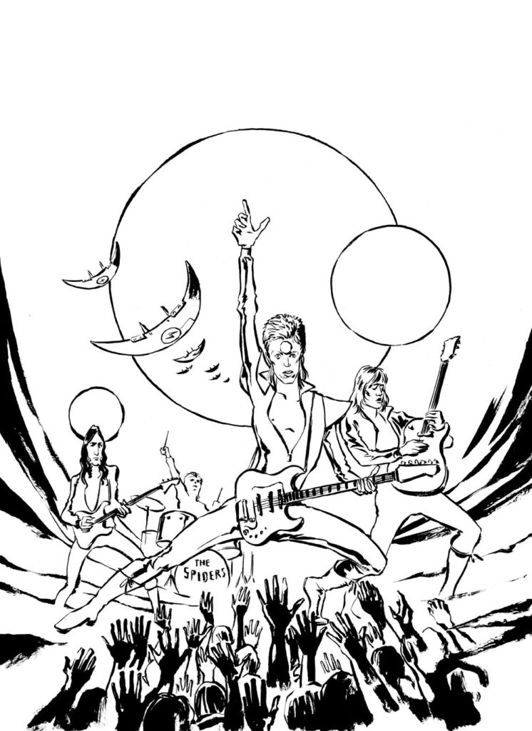 Ziggy Stardust as pinball style illustration, b/w